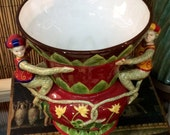 Red CIRCUS MONKEY Display Accent Vase / Eclectic Home Decore \ Hand Painted Porcelain