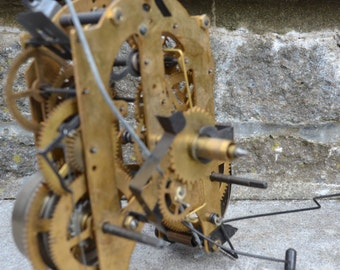 Vintage Antique steampunk clockworks clock parts Industrial decor brass