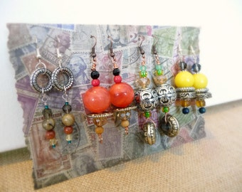 4 Pairs of Boho Earrings, Lot of Earrings, Upcycled Vintage Jewelry Set, Lucite Bead Jewelry, Long Dangle Earrings