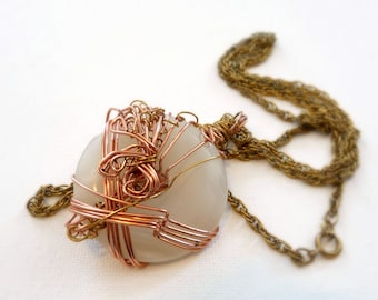 Wire Wrapped White Stone Circle Necklace, 30 inch Vintage Chain Necklace, Copper Pendant, Mixed Metals Jewelry