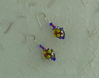 SALE: BRIGHT COLORS Flowers Lampwork w/ Swarovski Crystal Sterling Silver Earrings