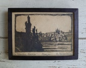 Woodblock Print. Charles Bridge, Statues. Prague, Czechoslovakia. Vintage 1930s. Small Framed Picture. Artist Signed. Black White Tan.