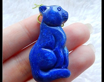 Carved  Lapis Lazuli Gemstone Cat Pendant Bead,42x21x10mm,15.6g