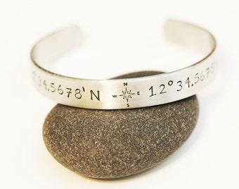 Latitude & Longitude Cuff Bracelet, Personalized, Custom Hand Stamped Bracelet, Silver Bracelet
