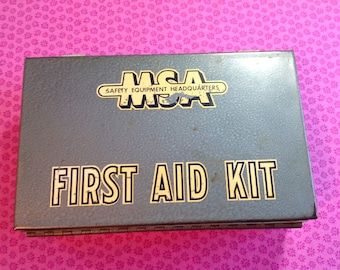 Vintage First Aid Kit, Mine Safety Appliance , metal first aid kit