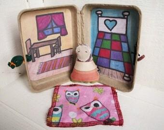 Eco friendly travel doll, pocket doll, miniature dollhouse, travel toy, matryoshka, waldorf doll