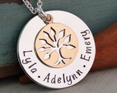 Personalized Jewlery - Hand Stamped Mommy / Grandma Necklace - Mixed Metals / Small Generations Family Necklace (up to 4 names)