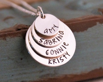 Hand Stamped Mommy Necklace / Personalized Layered Sterling Silver Jewelry / Family Stack of Four Petite