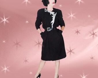 Plus Size Vintage Black Dress - 80s Ultrasuede Fall & Winter Dress - Sz 18