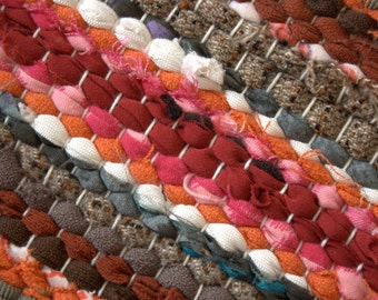 Hand woven rag rug 30.7'' by 44.1''(78cm x 112cm)  colors  white,red, beige, brown, black