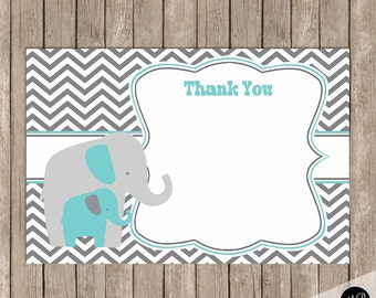 Turquoise and gray elephant thank you note, baby shower thank you note, elphant thank you note 4x6  INSTANT Download et01