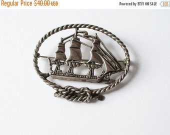 on sale Sterling Silver Ship Pin Vintage deMatteo Sterling Tall Ship Pin