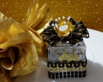black gold boys baby blocks baby shower favors prince baby shower