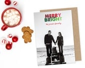 Merry + Bright Holiday Card - Customizable - Quantity 25-125 with matching envelopes