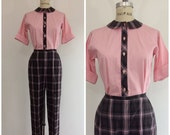 SALE 1950s Bobbie Brooks Outfit Set Pants Blouse 50s Pink
