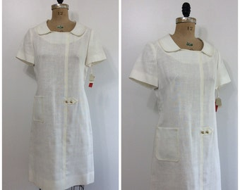 Vintage 1960s Nan Leslie Dress 60s White NOS NWT Deadstock Shift Dress