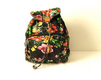 90s floral TWIN PEAKS backpack melrose era KNAPSACK back to school book bag