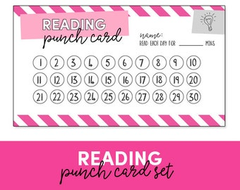 Reading Punch Card - Reward Chart - Homeschool - Reading Log
