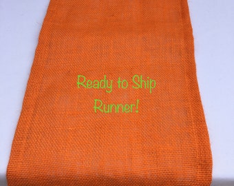 Orange Burlap Table Runner, READY to SHIP, Wedding, Shower, Party, Home Decor, Custom Sizes Available
