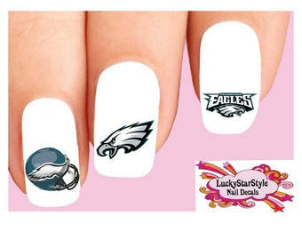 Waterslide Nail Decals Set of 20 - Philadelphia Eagles Football Assorted