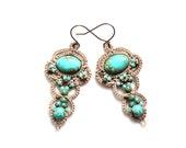 Turquoise Artisan Dangle Beaded Fiber Tatting Earrings
