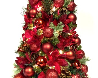 """2 Ft. Table Top RED Poinsettia Christmas Tree PreLit White Lights Approx. 24""""x12"""" Bow Tree Topper! SHATTERPROOF ORNAMENTS(bow vary slightly)"""