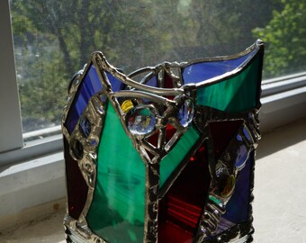Green, Red, and purple stained glass votive holder