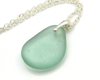 Aqua Sea Glass Pendant Necklace ASHLIE