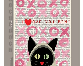 I love you Mom! Mixed media Animal painting illustration,Mothers day print- Love book print - Printed over vintage dictionary book page