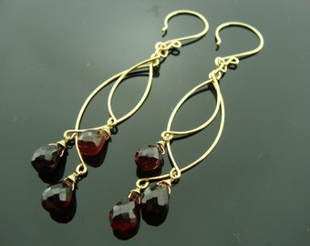 Long Genuine Garnet Chandeliers 14K Gold Filled Earrings