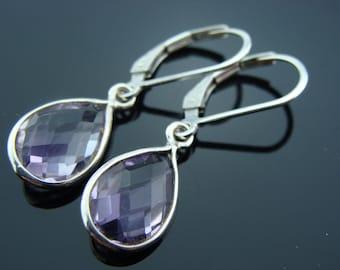 Bezel Set Amethyst Briolette Sterling Silver Leverback Earrings