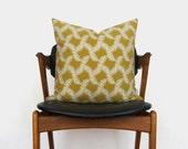 Chartreuse Fern Pillow Case   Citrus Lime, Gold, White Botanical Decorative Cushion Cover   18x18 Citrine Throw Pillows   Modern Home Decor