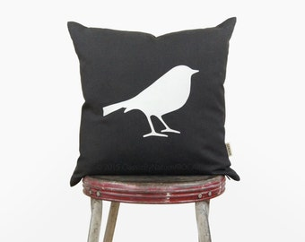12x18 or 16x16 bird pillow cover | White and dark gray bird silhouette decorative throw pillow case | Modern cushion, Woodland nursery decor