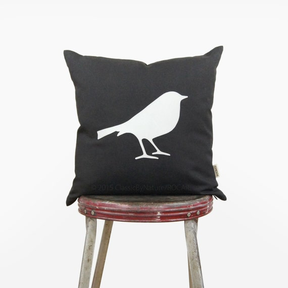 12x18 or 16x16 bird pillow cover | White and dark gray bird silhouette decorative throw pillow case | Modern cushion, Woodland nursery decor