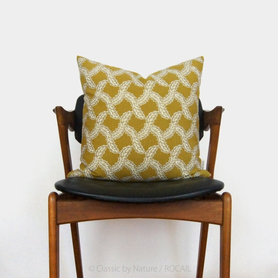 Chartreuse Fern Pillow Case | Citrus Lime, Gold, White Botanical Decorative Cushion Cover | 18x18 Citrine Throw Pillows | Modern Home Decor