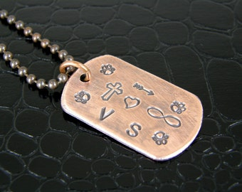 Personalized Hand Stamped Copper Dog Tags for Humans or Pets, Custom Made To Order Tags