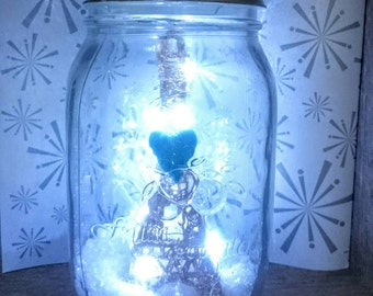 I Left My Heart In Paris Lighted Eiffel Tower Snow Globe, Paris In The Snow Scene , Dry  Snow Globe. Large Mason Jar Style Snow Globe