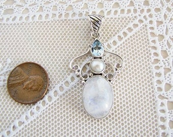 Rainbow Moonstone Sterling Silver Pendant with blue topaz and Pearl, sale