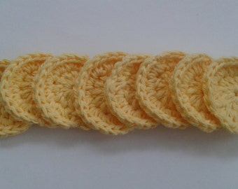 Reusable Crocheted Cotton Facial Scrubbies Set of 8,Essential Oil Round Pad Applicator, Yellow