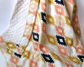 Southwest / Tribal / Aztec Baby Blanket - Mint, Navy, Gold, Peach - Arizona by Art Gallery - White Minky Dot - 26 x 30