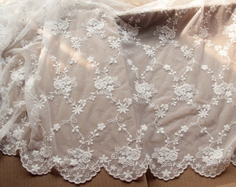 Cream Lace Fabric Cotton Floral Embroidered Tulle Gauze Lace Trims Floral Lace 47.2 Inches Wide 1 yard