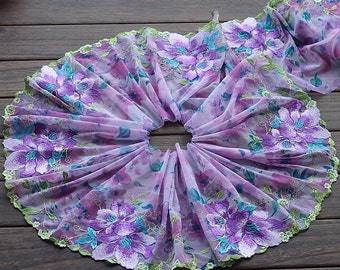 2 Yards Lace Trim Exquisite Purple Flowers Embroidered Printed Tulle Lace 8.85 Inches Wide High Quality