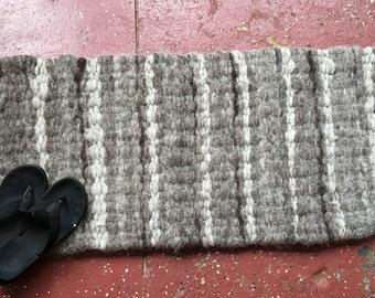 Hand Woven Natural Fiber Rug, Soft and Lofty, Wool, Mohair, Rectangular Rug, Handmade, Luxury Rug, Bath Mat, Pet Bed, Photo Prop, Prayer Mat