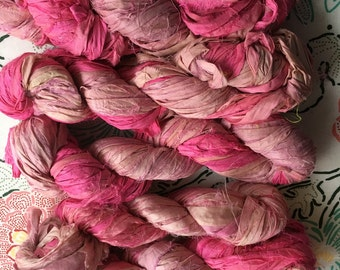 Two-Tone Pink Recycled Sari Silk Ribbon Yarn, Light Pink, Bright Pink, 3.5 oz / 100 grams, 50 yards, Upcycled, Bulky, Crochet, Knit, Weave