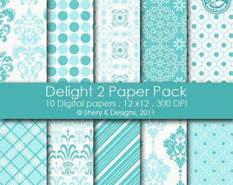 50% Off Delight 2 Paper Pack - 10 Digital papers - 12 x12 - 300 DPI ////// 2