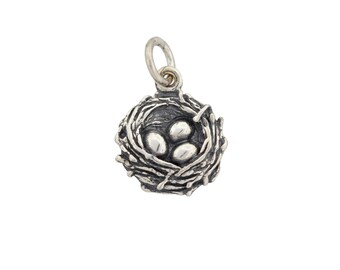 Birds Nest Charm Sterling Silver 15x10mm with soldered jump ring - 1pc (2851)/1