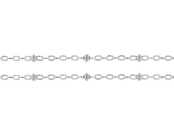 Sterling Silver 1mm  Heavy Satellite Chain with 2mm Bead - 20ft (2477-20)