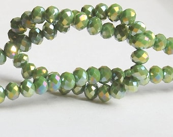 25 pcs 6x4mm Opaque Lime Green Avocado Chartreuse Luster AB Rondelle Glass Crystal Beads