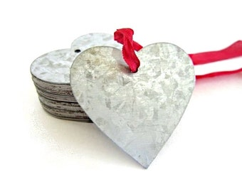 3 Tin Hearts / galvanized metal tags . heart tags . shabby chic wedding favors . rustic wedding decor