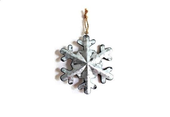 tin snowflake ornament winter wedding favors snowflake